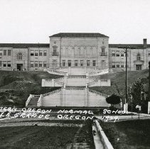 "Image of 1929 Grand Staircase - ""Eastern Oregon Normal School, La Grande, Oregon 1929 - The rear view of bldg. - the side that overlooks La Grande"""