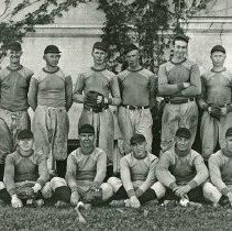 """Image of 1935 Baseball Team - """"1935 Mountaineer Baseball Team - First row:  Eldon Fix, Buck Fowler, Leland Shinn, John Densley, Winnie Cammann, Jack Hodgen.  Second row:  Chuck Young, Verdell Ragsdale, Keith McKinnis, Clark Wheeler, Orville McEwen, Jim Fleming, Lynn Anderson, Coach Quinn"""""""