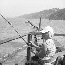 "Image of California Fishing, Hill 1 - ""Pier / warf fishing in Sacramento River - near Antioch, Calif. - 1950 - Martha Hill"""