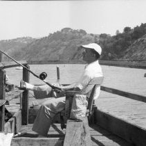 "Image of California Fishing, Hill 2 - ""Pier / warf fishing in Sacramento River - near Antioch, Calif. - 1950 - Fred Hill"""