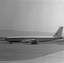 "Image of California Airport, 707 1 - ""1947 - A World Airways 707 at Oakland airport - Now 707's are banned because of excess noise"""