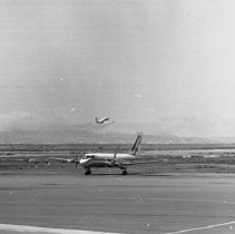 "Image of California Airport, 707 3 - ""1947 - A World Airways 707 at Oakland airport - Now 707's are banned because of excess noise"""