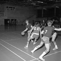 """Image of California, Basketball Game 4 - """"Basketball game - Mormon Stake recreational facilities - Oakland, Calif. - Mar. 1974 - Don Satelo:  Fred's daughter Jean dated Don Satelo a few times.  The basketball 'suits' of this era might be of interest"""""""