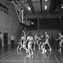 """Image of California, Basketball Game 6 - """"Basketball game - Mormon Stake recreational facilities - Oakland, Calif. - Mar. 1974 - Don Satelo:  Fred's daughter Jean dated Don Satelo a few times.  The basketball 'suits' of this era might be of interest"""""""