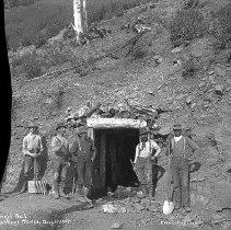 """Image of Baker, Buckeye Mines - """"Baker [County] area mines - Buckeye Mines""""  """"Aug. 15, 1905 - Tunnel No. 1 - Excavating Crew"""""""