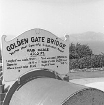"""Image of California, Cable Cross Section - """"Golden Gate Bridge sample cross section of cable - June 1968""""  """"'World's most beautiful suspension span' - Main cable 4,200 ft. between towers - Length of one cable 7,650 ft. - Diameter 36 1/8 in. - Wires in each cable 27,572 - Total wire used 80,000 mi. - Weight of cable 24,000 tons - Height of tower 746 ft."""""""