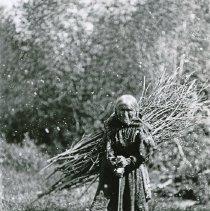 "Image of 1912+/- Oregon, To-Ka-Ma-Po - ""Chief Joseph's widow, To-Ka-Ma-Po""  She looks very old here.  She is using a walking stick, but amazingly, she has a large bundle of sticks for fire kindling on her back."