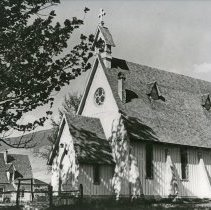 "Image of Cove Church, Ascension - ""Ascension Church, Cove, Oregon - built in 1876 - photo taken, circa 1940""  Rectory visible in left side, background of image."