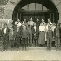 """Image of Elgin, HS Students - """"Elgin High School, Elgin, Oregon - 1907-1909 - Building dedicated May 18, 1908.  Destroyed by fire in the spring of 1945."""""""