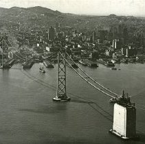 "Image of California, Golden Gate Bridge 1 - ""San Francisco, California - Oakland Bay Bridge [Golden Gate Bridge] during construction - completed in 1936"""