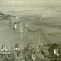 "Image of California, Golden Gate Bridge 2 - ""San Francisco, California - Oakland Bay Bridge [Golden Gate Bridge] during construction - completed in 1936"""