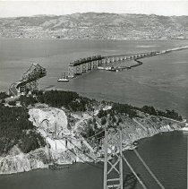 "Image of California, Golden Gate Bridge 3 - ""San Francisco, California - Oakland Bay Bridge [Golden Gate Bridge] during construction - completed in 1936"""