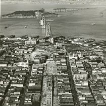 "Image of California, Golden Gate Bridge 4 - ""San Francisco, California - Oakland Bay Bridge [Golden Gate Bridge] during construction - completed in 1936"""