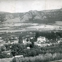 "Image of Cove, Hilltop View 2 - ""Cove, Oregon - circa 1910""  Cove School can be seen just to the right of the direct center of the image."