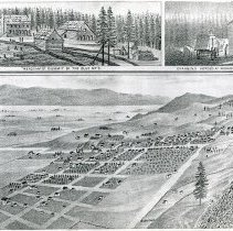 "Image of Art, Union County - [Photocopy of a page from ""A Tour of Union County"" which was written in 1882 by D.H. Stearns.]  Depicts:  ""Meacham's Summit of the Blue Mts,"" ""Changing Horses at Midnight,"" and the largest drawing is of ""Old Town, La Grande, Oregon."""