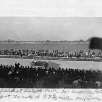 "Image of Automobile, Dirt Track 8 - ""Oldsfield at Ascott [Ascot] Park, Los Angeles, Calif. - going at the rate of 97 3/10 miles per hour"""