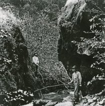 """Image of Eden, Fishing - """"The Brook-Trouts Home, Elbow Canyon' north end (Eden area) Wallowa County, Oregon - circa 1910."""""""