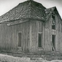 "Image of Flora Home, Reed - ""Reed Home - Flora, Oregon - 1973""  The shell of the house is still standing, but it is abanoned and run down."