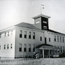 "Image of Flora School - ""Flora School - 1973 - May have been taken about the time the school was closed.""  [Although, at the time the picture was taken in 1973, the U.S. flag was flying above the school, and the building still appeared to be in good shape.]"