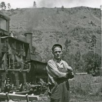 "Image of Train Engineer, Hercial Jones 3 - ""Hercial Jones, engineer - Bowman Hicks Lumber Co. yard - Maxville, (Wallowa County) Oregon - 1932"""