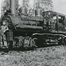 "Image of Train Engine, Shay Locomotive 4 - ""Bowman Hicks Lumber Co. #2 Shay, 70-ton - Hercial Jones, engineer, age 19.  He had just been promoted to engineer by Dan Tanner."""