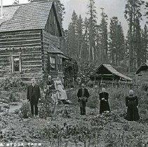 "Image of Eden Home, Hafer - ""E.G. Hafer's ranch on Cabin-Creek in Garden of Eden, (Wallowa County) Oregon - circa 1910.""  Written on front of photograph:  ""Cabin Creek Stock Farm."""