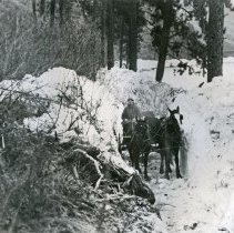 """Image of Troy, Ice Jam - """"Troy, Oregon (Wallowa County). Ice jam above Troy as it appeared January 31, 1920.  Jam occurred on Grande Ronde River December 25, 1919.""""  A man in a buggy pulled by a 2-horse team travels through a deep channel that has been cut through the snow and ice next to the river."""