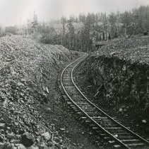 "Image of Train Tracks, Grade - ""East Oregon Lumber Company Grade in the Sled Springs area, Wallowa County - circa 1915."""