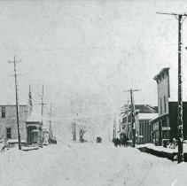 "Image of Cove, Street Scene 3 - ""Cove, Oregon street scene in winter, looking west - circa 1910."""