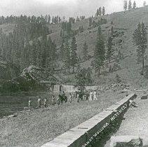 """Image of Wallowa, Dam & Hatchery - """"Dam at Wallowa Hatchery. [Note wooden construction on dam.]"""