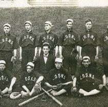 "Image of EOSNS, Baseball Team - ""Eastern Oregon State Normal School baseball team portrait - Weston, Oregon - 1908.""  Identified on back of photograph:  ""Fred Weatherford (Olex), Lester Hearst, Hugo Weinert, Frank Miller (Cove), Ira D. Staggs (Weston), O'Harrah (Weston), Coach Clayton Hooper, 'Dutch' Conley (Cove), Earl Storm (Milton), Jas Hallgarth (Elgin), Chet Rornig (Baker?)."""
