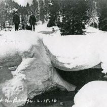 "Image of Cornucopia, Winter 3 - ""2.5.16 L.P. [Probably date and initials for photographer, Lawrence Panther.]  Feb. 5, 1916 - Pine Creek at the bridge, Cornucopia, Ore. in winter."""