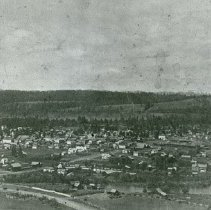 """Image of Elgin, Hilltop View 1 - """"Overview of Elgin, Oregon looking NW - Spring 1904.  The Grande Ronde River is in the foreground."""""""