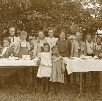 """Image of Union, Birthday Party - """"Birthday party for daughter of Mr. and Mrs. Hulse - June 18, 1905.  Mrs. Hulse is on the extreme right.  Miss May Bell is on the extreme left with Miss Margaret Bell next to her on the right."""""""