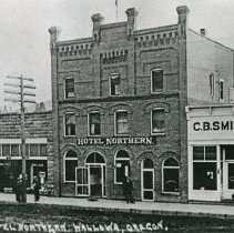 "Image of Wallowa, Business Block - ""No. 27 Hotel Northern, Wallowa, Ore. - circa 1912.  Buildings from left to right:  Bank (built 1905), city pharmacy (built circa 1907), Hotel Northern (built circa 1908), C.B. Smith & Co."""