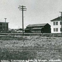"Image of Wallowa Schools - ""No. 26 High School (burned circa 1917), Gymnasium (burned circa 1950), and Public Grade School (burned circa 1932), Wallowa, Ore. - circa 1912."""