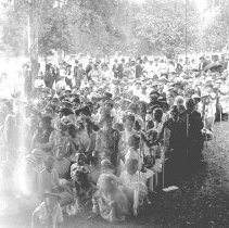 "Image of Cove, Cherry Fair Crowd 2 - ""Cherry Fair - circa 1915 - Cove, Oregon.  A large crowd of people are seated in chairs outside."""