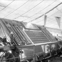 """Image of Cove, Cherry Fair Display 13 - """"Cherry Fair cherry display - circa 1912 - Cove, Oregon.  American flag design with grain stalks on either side.  Sign above reads:  'Cove, Oregon.'""""  [Almost identical to 2010.2.106]"""