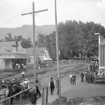 """Image of Cove, Street Scene 5 - """"Cove, Oregon street scene - circa 1912.  Shows the intersection in front of the Cove Mercantile Co."""""""