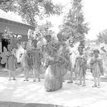 Image of Cove, Cherry Fair Entertainment 3 - Cove, Oregon Cherry Fair - circa 1910-20.  A group of girls wearing fairy costumes poses for a picture.