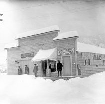 """Image of Cove, Weimer's Feed Store - """"Weimer's Feed Store - Feed, Flour and Cereals - Poultry Foods and Seeds"""" in Cove, Oregon - circa 1905-10.  [Image most likely taken by photographer, Mae Stearns.]"""