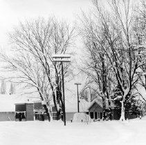 Image of Cove, Street Scene 8 - Cove, Oregon street scene in winter - circa 1905-10.  [Image most likely taken by photographer, Mae Stearns.]