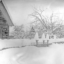 Image of Cove, Street Scene 9 - Cove, Oregon residential street scene in winter - circa 1905-10.  [Image most likely taken by photographer, Mae Stearns.]