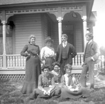 "Image of GRV, Lawn Group 2 - ""A group of people, mostly women, are gathered at the home of Mrs. Rice - circa 1910.  Photograph taken on the lawn, beside the house.  [The same house is pictured in 2010.15.02149]"