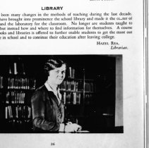 "Image of 1929-30 Employee, Hazel Rea - ""Hazel Rea, Librarian - LIBRARY  