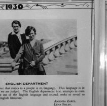 """Image of 1929-30 Employees, English - """"Amanda Zabel and Lena Foley - ENGLISH DEPARTMENT""""  The women pose together next to one of the banisters of the Grand Staircase.  [Photo appears in the 1930 EONS Catalog.]"""