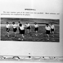 """Image of 1929-30 Women's Speedball - """"SPEEDBALL - The most vigorous sport of the winter term was speedball.  Much endurance and sportsmanship were displayed by the players."""" - two identical images  [Photo appears in the 1930 EONS Catalog.]"""
