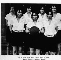 """Image of 1929-30 Women's Sports Team 1 - """"Left to right, back, Byrd, Witty, Faus, Knotts.  Front, Langley, Jackson, Woods.""""  A women's sports team, possibly speedball.  [Photo appears in the 1930 EONS Catalog.]"""