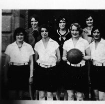 Image of 1929-30 Women's Sports Team 2 - A women's sports team, possibly speedball.  [Photo appears in the 1930 EONS Catalog.]