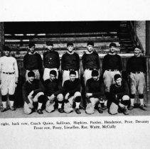 "Image of 1929-30 Baseball Team - 1929-30 Baseball Team ""Left to right, back row, Coach [Bob] Quinn, Sullivan, Hopkins, Paisley, Henderson, Price, Devaney.  Front row, Posey, Lieuellen, Rae, Waite, McCully.""  [Photo appears in the 1930 EONS Catalog.]"